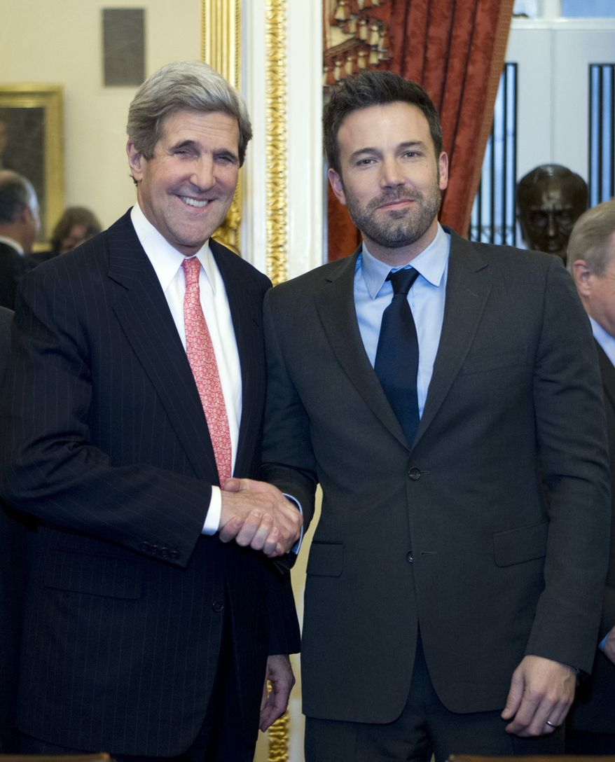 ** FILE ** Sen. John F. Kerry, Massachusetts Democrat, shakes hands with actor Ben Affleck during a meeting with lawmakers on Capitol Hill in Washington on Wednesday, Dec. 19, 2012, to discuss the crisis in the Democratic Republic of Congo. (AP Photo/Jose Luis Magana)
