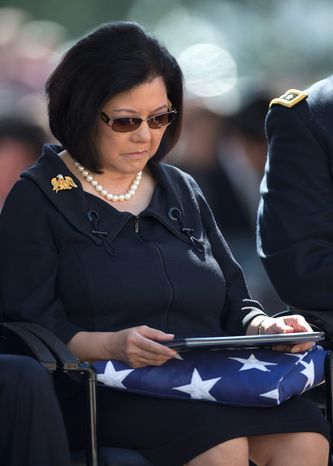 Irene Hirano Inouye, the widow of the late Sen. Daniel Inouye, holds the flag that was draped over her husband's casket during a memorial service at the National Memorial Cemetery of the Pacific, Sunday, Dec. 23, 2012, in Honolulu. Inouye, 88, died Dec. 17. He was the first Japanese-American elected to both houses of Congress and the second-longest serving senator in U.S. history.  (AP Photo/Carolyn Kaster)
