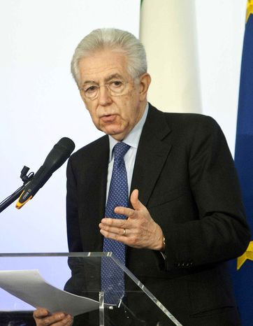 Italian Premier Mario Monti said during a news conference in Rome on Sunday, Dec. 23, 2012, that he won't take up former Prime Minister Silvio Berlusconi's offer to run on a center-right election ticket, citing Mr. Berlusconi's heavy criticism of his economic policies. (AP Photo/Mauro Scrobogna, Lapresse)