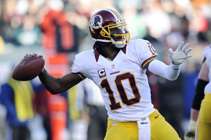 Washington Redskins' Robert Griffin III in action in the second half of an NFL football game against the Philadelphia Eagles, Sunday, Dec. 23, 2012, in Philadelphia. (AP Photo/Michael Perez)
