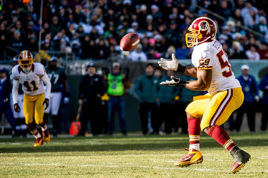 Washington Redskins inside linebacker London Fletcher (59) intercepts a ball in the second quarter as the Washington Redskins play the Philadelphia Eagles at Lincoln Financial Field, Philadelphia, Pa., Sunday, December 23, 2012. (Andrew Harnik/The Washington Times)