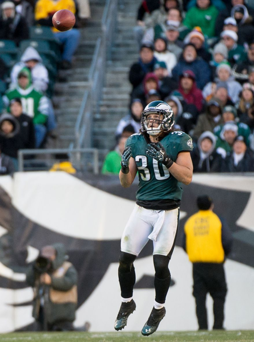 Philadelphia Eagles free safety Colt Anderson (30) intercepts a tipped ball in the fourth quarter as the Washington Redskins play the Philadelphia Eagles at Lincoln Financial Field, Philadelphia, Pa., Sunday, December 23, 2012. (Andrew Harnik/The Washington Times)