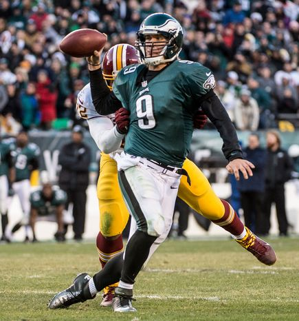 Philadelphia Eagles quarterback Nick Foles (9) is called for an illegal forward pass on the final play of the game as the Washington Redskins defeat Philadelphia Eagles 27-20 at Lincoln Financial Field, Philadelphia, Pa., Sunday, December 23, 2012. (Andrew Harnik/The Washington Times)