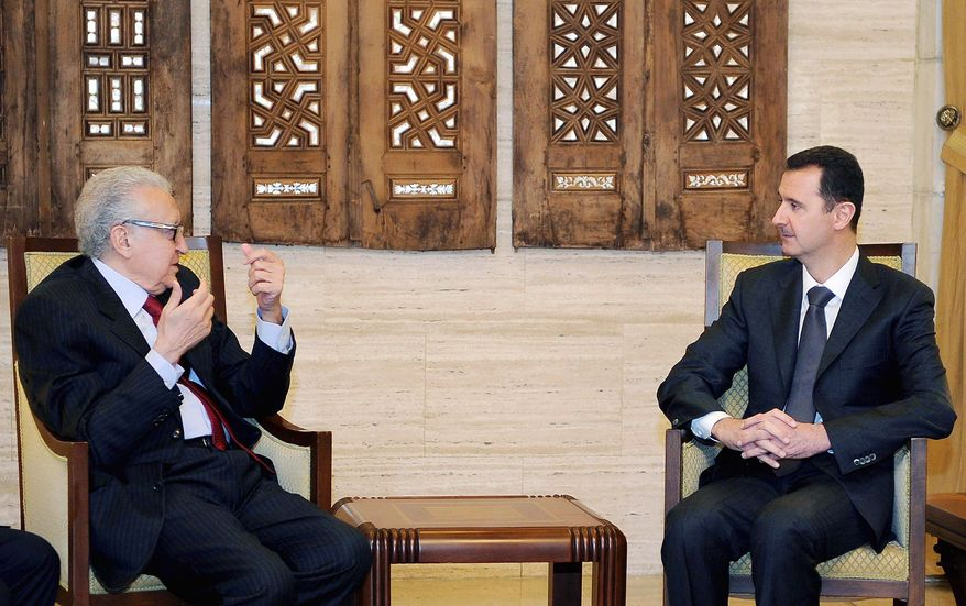 Lakhdar Brahimi (left), an envoy of the United Nations and Arab League, visits Monday with Syrian President Bashar Assad in Damascus in an effort to find a way out of the civil war that activists say has killed more than 40,000 people. (Associated Press)