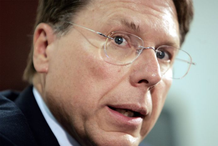 ** FILE ** National Rifle Association Executive Vice President Wayne LaPierre is interviewed by The Associated Press in Washington on Wednesday, Sept. 8, 2004. (AP Photo/Ron Edmonds)