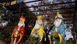** FILE ** This January 2012 publicity photo provided by Disneyland shows figures representing the Three Kings at a Three Kings Day celebration at the theme park in Anaheim, Calif. (AP Photo/Disneyland)