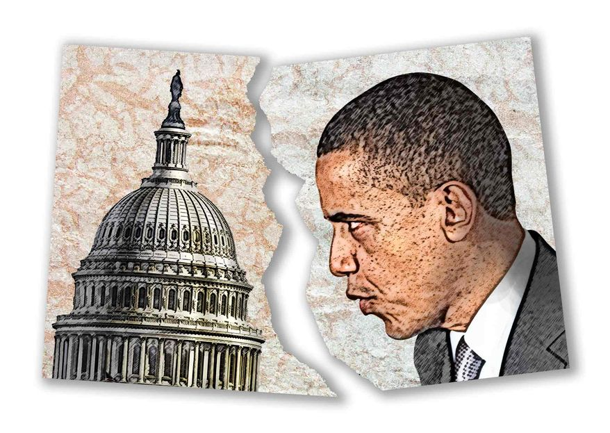 Illustration Obama Face-off with Congress by Greg Groesch for The Washington Times