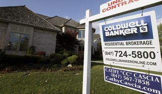 "An ""under contract"" sign sits outside a home in Glen, Ill., on Wednesday, Oct. 10, 2012. (Associated Press)"
