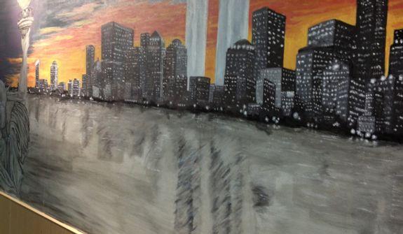 A 9/11 Memorial painting at Transit Center at Manas in Kyrgyzstan.   (Courtesy of Matt Hendricks)