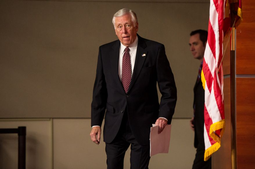 """House Minority Whip Steny H. Hoyer holds a press conference at the U.S. Capitol in Washington on Thursday, Dec. 27, 2012, to call on House Speaker John A. Boehner to bring the House back into session immediately to work on a """"fiscal cliff"""" deal. (Andrew Harnik/The Washington Times)"""