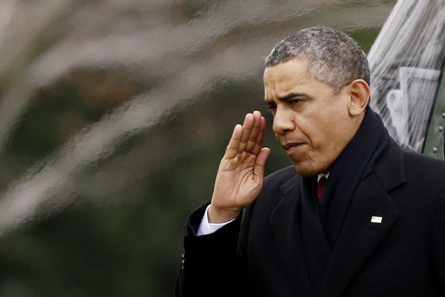 President Obama returns a Marine honor guard's salute as he steps off the Marine One helicopter and walks on the South Lawn at the White House in Washington on Dec. 27, 2012, as he returned early from his Hawaii vacation for meetings on the fiscal cliff. (Associated Press)
