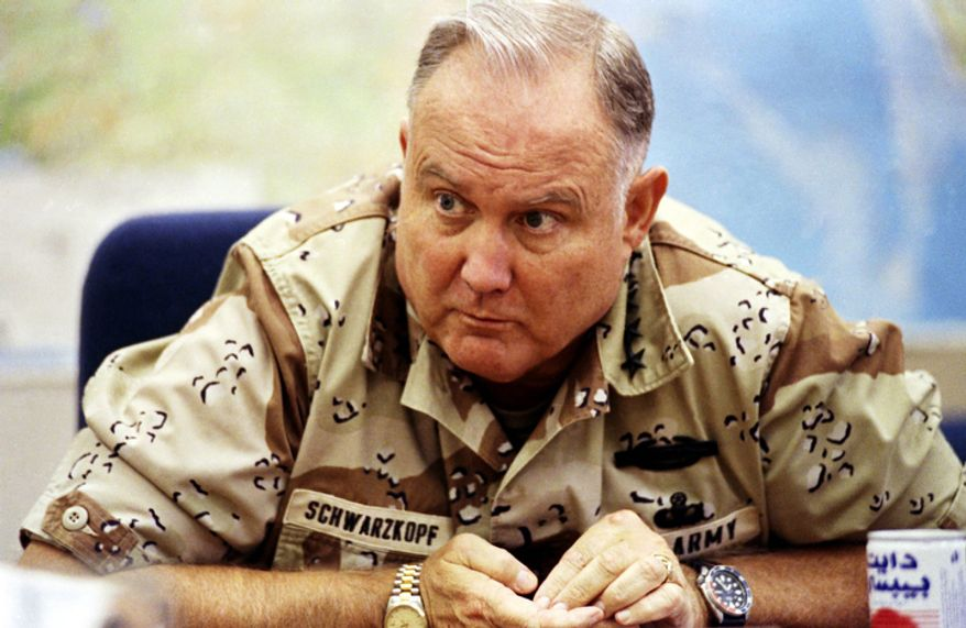 **FILE** U.S. Army Gen. H. Norman Schwarzkopf, commander of U.S. forces in Saudi Arabia, answers questions during an interview in Riyadh on Sept. 14, 1990. (Associated Press)