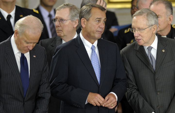 Vice President Joe Biden, left, Senate Minority Leader Mitch McConnell, R-Ky., second from left, House Speaker John Boehner of Ohio, second from right, and Senate Majority Leader Harry Reid of Nevada, right, watch during a ceremony for Sen. Daniel Inouye, D-Hawaii, the second-longest-serving senator in history, as he lies in state in the Capitol Rotunda in Washington, Thursday, Dec. 20, 2012. (AP Photo/Susan Walsh)