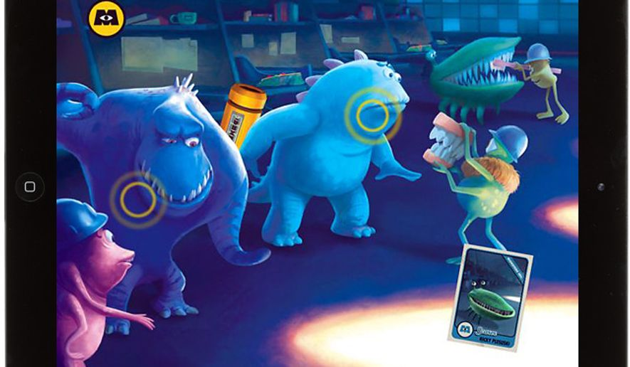Monsters, Inc. Storybook Deluxe for the iPad features collectible Scare Cards and interactive hot spots on the full screen illustrations.