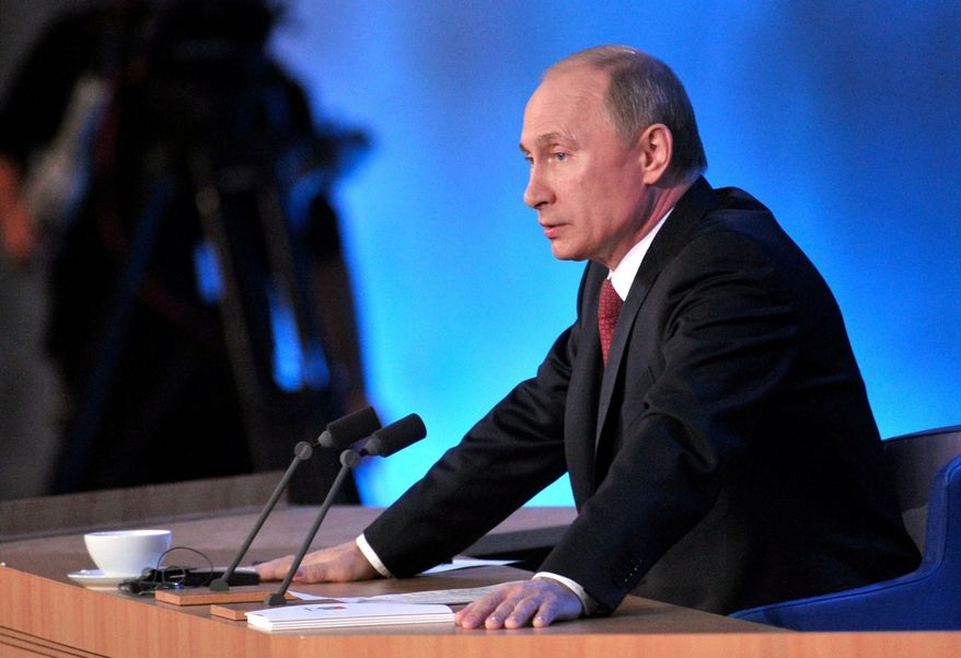 **FILE** Russian President Vladimir Putin speaks during a news conference in Moscow on Dec. 20, 2012. (Associated Press/RIA Novosti, Alexei Nikolsky, Presidential Press Service)