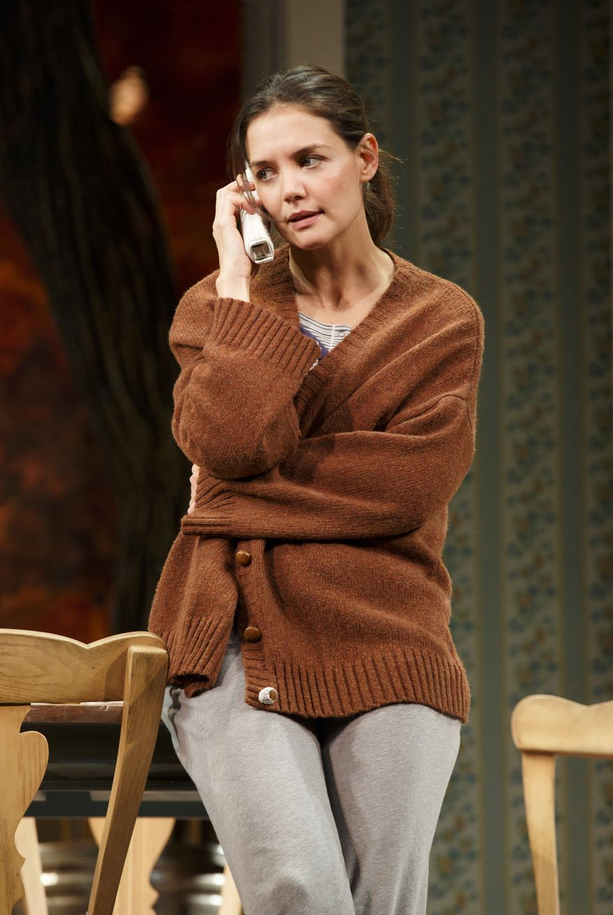 "This undated publicity photo provided by Boneau/Bryan-Brown shows Katie Holmes as Lorna in a scene from ""Dead Accounts,"" by Theresa Rebeck, at Broadway's Music Box theatre in New York. (Associated Press/Boneau/Bryan-Brown)"