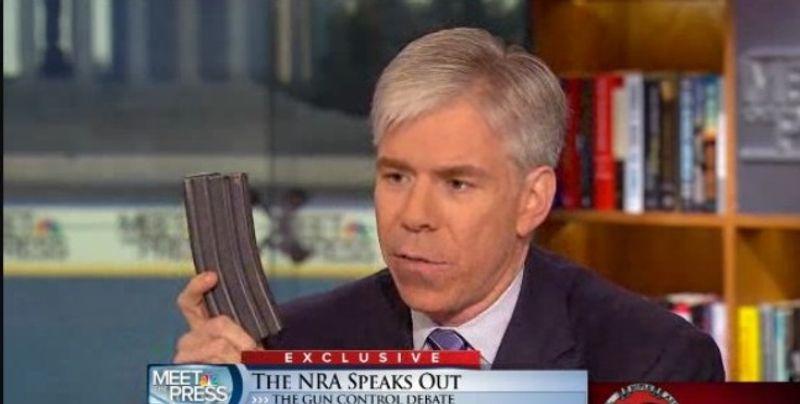 David Gregory holding a 30-round magazine at NBC's Washington bureau (NBC/Meet the Press)