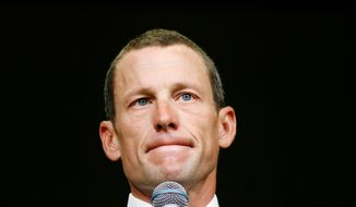 **FILE** Lance Armstrong speaks Aug. 24, 2009, during the opening session of the Livestrong Global Cancer Summit in Dublin, Ireland. (Associated Press)