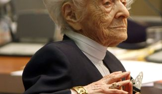 Dr. Rita Levi-Montalcini — an Italian neurologist, senator-for-life and Nobel laureate — is pictured at a press conference for her 100th birthday in Rome in 2009. (AP Photo/Riccardo De Luca)