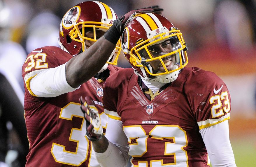 Cornerback DeAngelo Hall (23) and the Washington defense forced 15 turnovers during the seven-game winning streak that transformed a wayward 3-6 team into the NFC East champion. Hall finished the regular season with four interceptions. (Preston Keres/Special to The Washington Times)