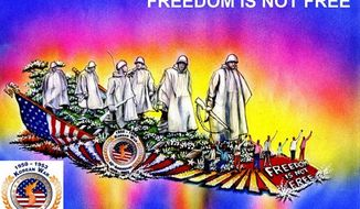 """Freedom Is not Free,"" the Defense Department's entry in the Tournament of Roses Parade in Pasadena, Calif., on New Year's Day, is depicted in an artist's rendering. (Image courtesy of Phoenix Decorating Co.)"