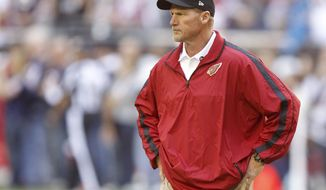 Arizona Cardinals head coach Ken Whisenhunt watches his team prior to an NFL football game against the Chicago Bears, Sunday, Dec. 23, 2012, in Glendale, Ariz. (AP Photo/Paul Connors)