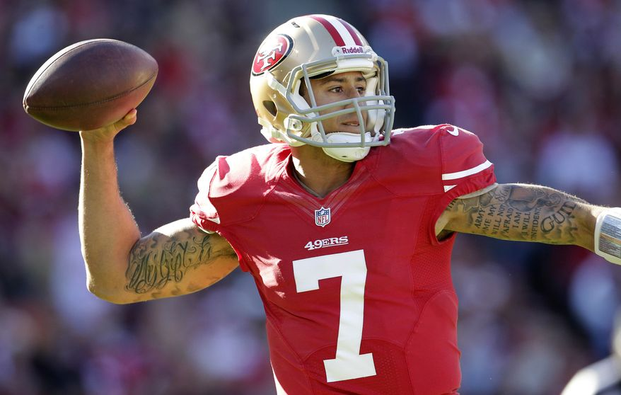 San Francisco 49ers quarterback Colin Kaepernick (7) passes against the Arizona Cardinals during the first quarter of an NFL football game in San Francisco, Sunday, Dec. 30, 2012. (AP Photo/Tony Avelar)