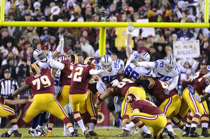 Washington Redskins kicker Kai Forbath (2) misses a 37-yard field goal, his first miss of the season, at FedEx Field, Landover, Md., Dec. 30, 2012. (Preston Keres/Special to The Washington Times)