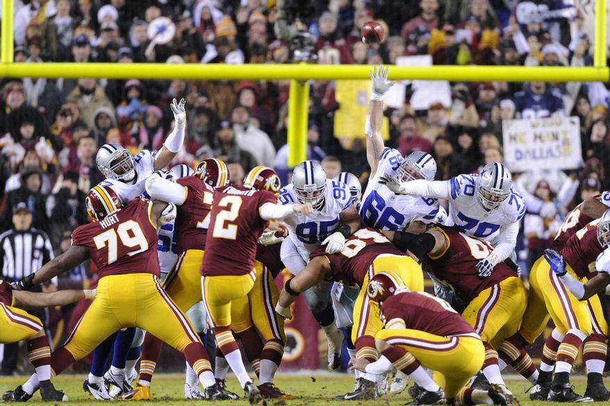 Washington Redskins kicker Kai Forbath (2) misses a 37-yard field goal, his first miss of the season, at FedEx Field, Landover, Md., Dec. 30, 2012. (Preston Keres/Special to The Washington Times)