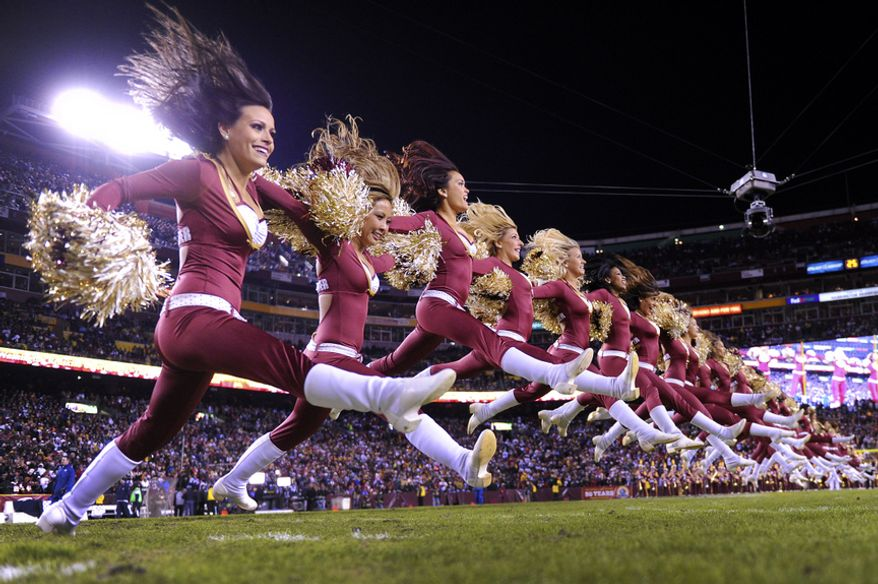 The Washington Redskins cheerleaders perform before the game at FedEx Field, Landover, Md., Dec. 30, 2012. (Preston Keres/Special to The Washington Times)