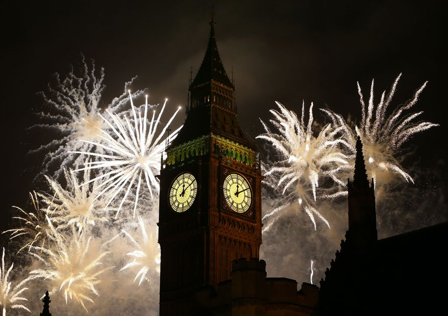 """On June 6, 2016, the House of Commons debated a petition for further regulation of private fireworks displays. The Conservative government declined to take further action, saying it had """"no plans to extend"""" existing regulations. ** FILE ** Fireworks explode over the Palace of Westminster's Elizabeth Tower, which houses Big Ben, in London on Tuesday, Jan. 1, 2013. (AP Photo/Kirsty Wigglesworth)"""