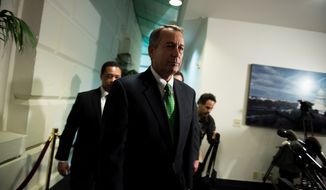 "House Speaker John A. Boehner leaves a GOP caucus meeting on ""fiscal cliff"" legislation at the U.S. Capitol in Washington on Tuesday, Jan. 1, 2013. (Andrew Harnik/The Washington Times)"