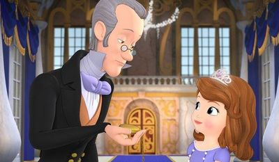 """The royal steward Baileywick (left), voiced by Tim Gunn, advises Princess Sofia, voiced by Ariel Winter, how to act and dress as a royal in the animated """"Sofia the First"""" from Disney. (AP Photo/Disney Junior)"""