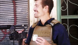 This photo posted on the website freejamesfoley.org shows American journalist James Foley in Aleppo, Syria, in July 2012. The family of the journalist says he was kidnapped in northwest Syria by unknown gunmen on Thanksgiving day. (Associated Press/Nicole Tung, freejamesfoley.org)