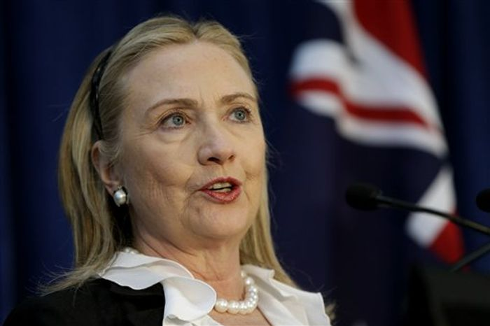 ** FILE ** In this Nov. 14, 2012 photo, U. S. Secretary of State Hillary Rodham Clinton speaks during a news conference at the annual Australia-United States Ministerial Consultations in Perth, Australia. Clinton was released from a New York hospital on Wednesday, Jan. 2, 2013 three days after doctors discovered a blood clot in her head. (AP Photo/Matt Rourke, Pool)