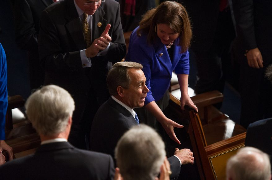 Rep. John A. Boehner, Ohio Republican, arrives in the U.S. House of Representatives at the U.S. Capitol in Washington on Thursday, Jan. 3, 2013, after narrowly being re-elected as speaker of the House for the 113th Congress. (Andrew Harnik/The Washington Times)