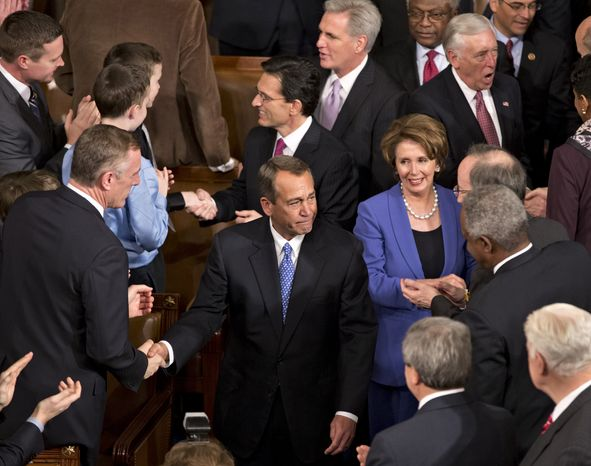 House Speaker John A. Boehner enters the U.S. House of Representatives on Capitol Hill in Washington on Thursday, Jan. 3, 2013, after surviving a roll-call vote for re-election in the newly convened 113th Congress. He is escorted by Majority Leader Eric Cantor, Minority Leader Nancy Pelosi, Majority Whip Kevin McCarthy and Minority Whip Steny H. Hoyer. (AP Photo/J. Scott Applewhite)