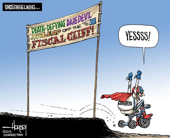 Leap Off The Fiscal Cliff (Illustration by David Horsey of the Los Angeles Times)