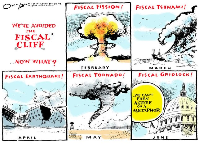 We've avoided the Fiscal Cliff (Illustration by Jack Ohman of the Tribune Media Services)