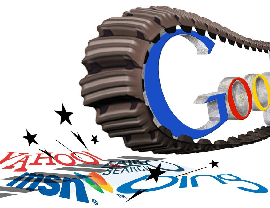 Illustration Google Tank by Greg Groesch for The Washington Times
