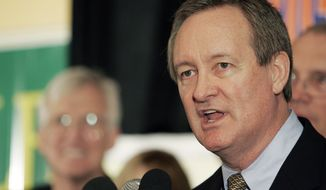 **FILE** U.S. Sen. Mike Crapo, Idaho Republican, gives his victory speech at the Republican Party election headquarters at the Doubletree Riverside Hotel in Boise, Idaho, on Nov. 2, 2010. (Associated Press)