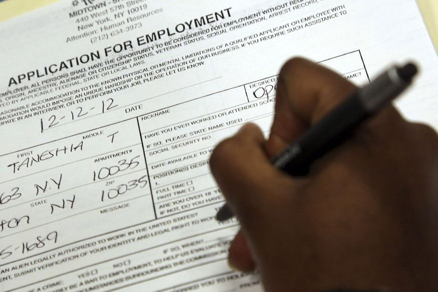 ** FILE ** In this Wednesday, Dec. 12 2012, photo, Taneshia Wright, of Manhattan, fills out a job application during a job fair in New York. (AP Photo/Mary Altaffer)