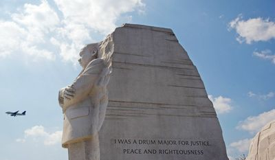 This partial quote is etched in stone at the Washington, D.C. Martin Luther King Jr. National Memorial in Washington, D.C., Tuesday, September 13, 2011. The quote etched in stone here is only a paraphrase of a Dr. King quote. (The Washington Times)