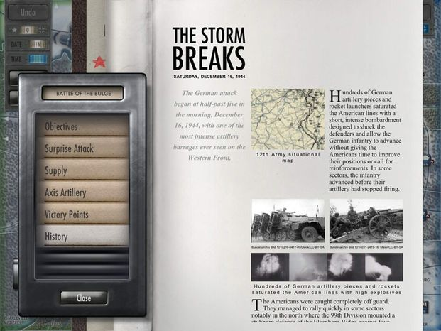 Players get an interactive history lesson in the iPad strategy game Battle of the Bulge.