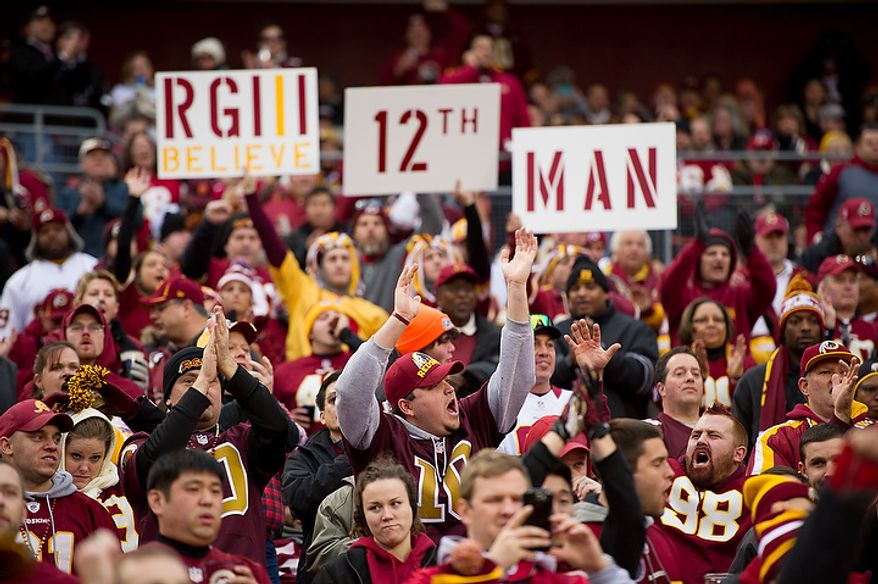 Fans cheer before the Washington Redskins play the Seattle Seahawks during the NFC wild card game at FedEx Field, Landover, Md., Sunday, January 6, 2013. (Andrew Harnik/The Washington Times)