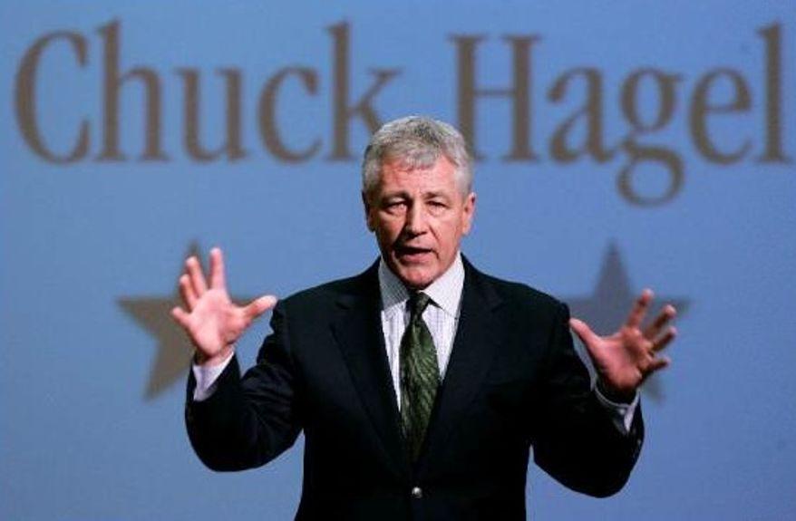 ** FILE ** Then-Sen. Chuck Hagel, Nebraska Republican, speaks during an appearance at Bellevue University in Bellevue, Neb., in 2007. (AP Photo/Nati Harnik)