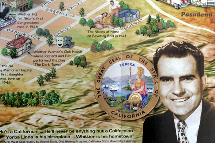 A good-hearted tourist map honoring Richard Nixon has proved a bestseller as the former president's 100th birthday approaches Tuesday. (image from Paul Carter/California State University at Fullerton)