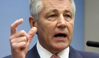 ** FILE ** Then-Sen. Chuck Hagel, Nebraska Republican, speaks on foreign policy at the Brookings Institution in Washington in 2008. (AP Photo/Lauren Victoria Burke)
