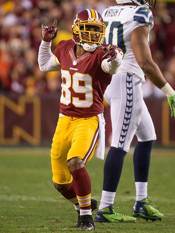 Washington Redskins wide receiver Santana Moss (89) reacts after catching a 10 yard pass for a first down in the first quarter as the Washington Redskins play the Seattle Seahawks during the NFC wild card game at FedEx Field, Landover, Md., Sunday, January 6, 2013. (Andrew Harnik/The Washington Times)