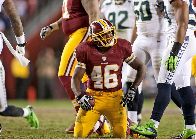 Rookie running back Alfred Morris is part of a young nucleus that gives the Redskins reason for optimism going forward, even though their playoff exit still stings. (Craig Bisacre/Special to The Washington Times)